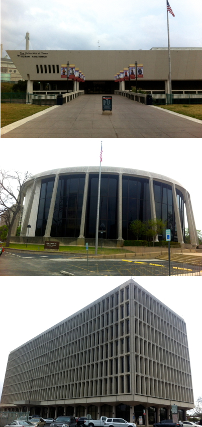 From top: UTSA's Institute for Texan Cultures, the Judge John H. Wood Jr. Federal Courthouse, and the San Antonio Federal Building. Photos by Rachel Pinner.