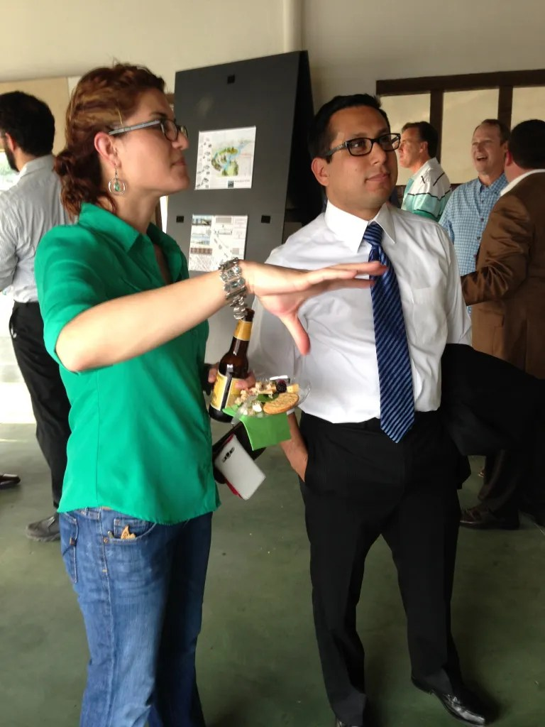 Erica Gagne discusses her Hemisfair redesign proposal with District One Councilman Diego Bernal