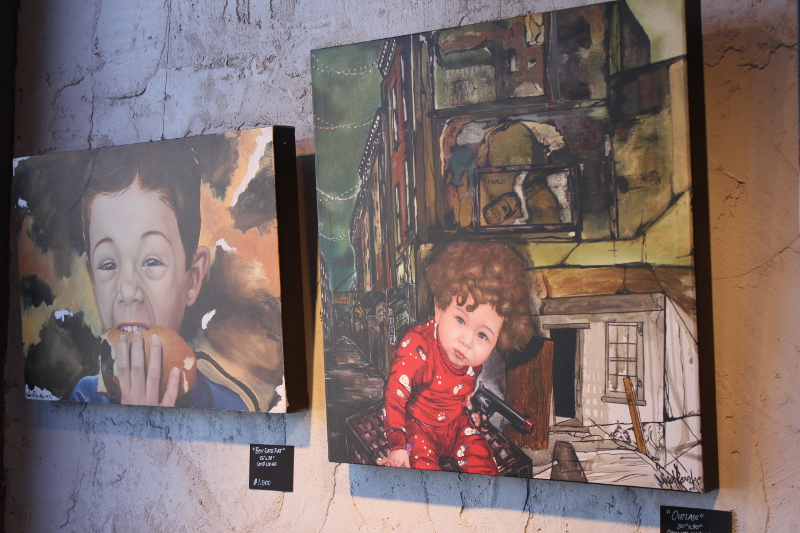 Two of the Paintyard's featured artist Miguel Paredes' pieces. Photo by Melanie Robinson.