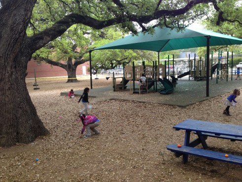Students hunt for Easter Eggs under the sprawling oaks of Lamar Elementary.