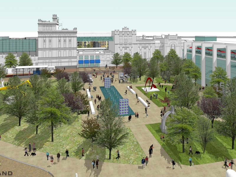 Artistic rendering of a possible sculpture garden across Jones Street in front of SAMA. Image created by and courtesy of Overland Partners   Architects.