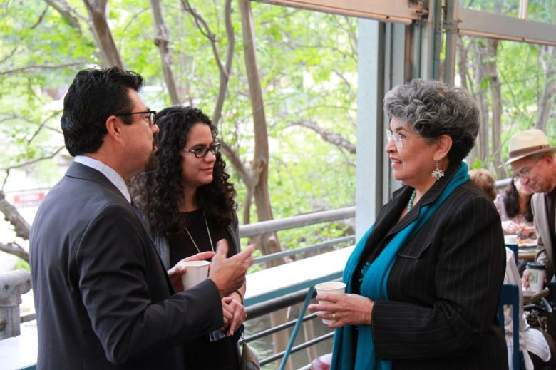 "Ramiro Salazar, San Antonio Public Library director (left) speaks with former San Antonio City Councilwoman and author of ""Maria, Daughter of Immigrants,"" María Antonietta Berriozábal at the Texas Book Festival/SA Edition kickoff event. Photo by Shane Kyle."