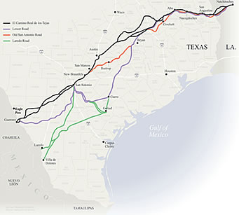 Map of El Camino Real de los Tejas courtesy of the National Park Service