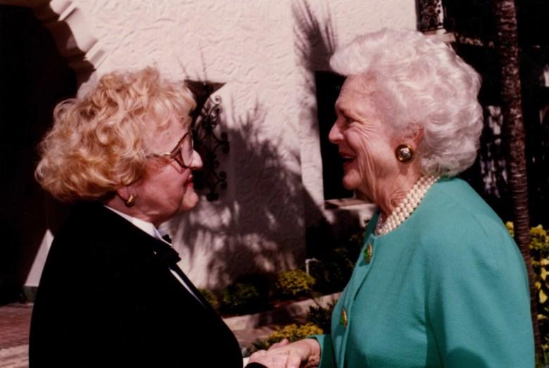 Rosemary with First Lady Barbara Bush.