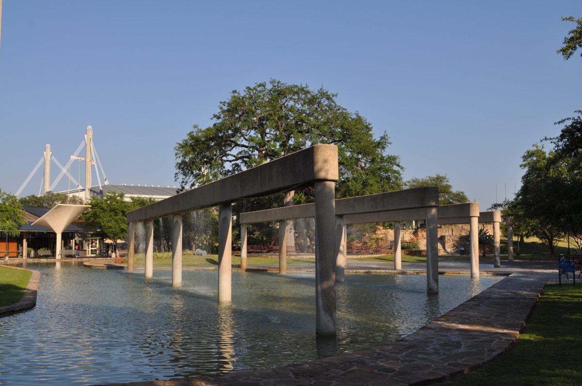 Water feature at Hemisfair park. Photo by Iris Dimmick.