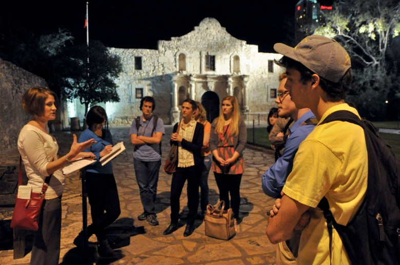 Elizabeth Porterfield from San Antonio's Office of Historic Preservation informed students of the history of the development of Alamo Plaza. Image courtesy Brantley Hightower.