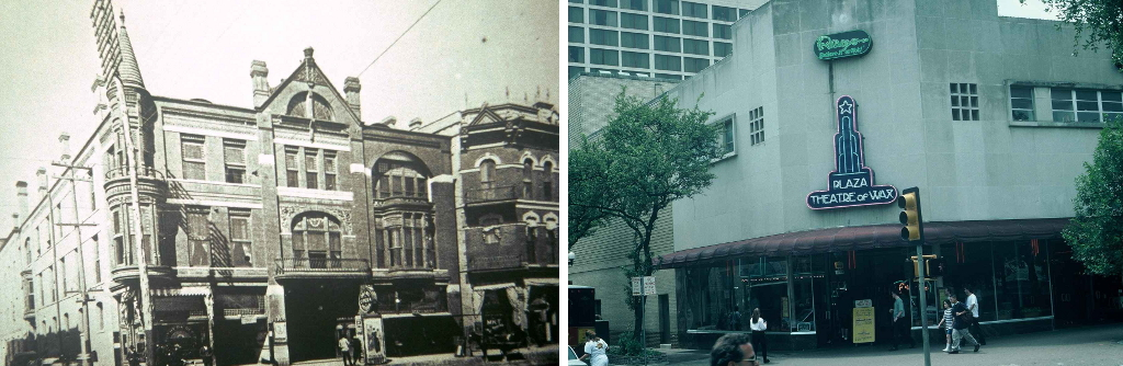 The Grand Opera House (left) circa 1890s was demolished in 1954 for re-development. The corner of Alamo and Crockett Streets is now home to Louis Tussaud's Waxwork museum. Photos from the Institute of Texan Cultures, Theatre Collection.