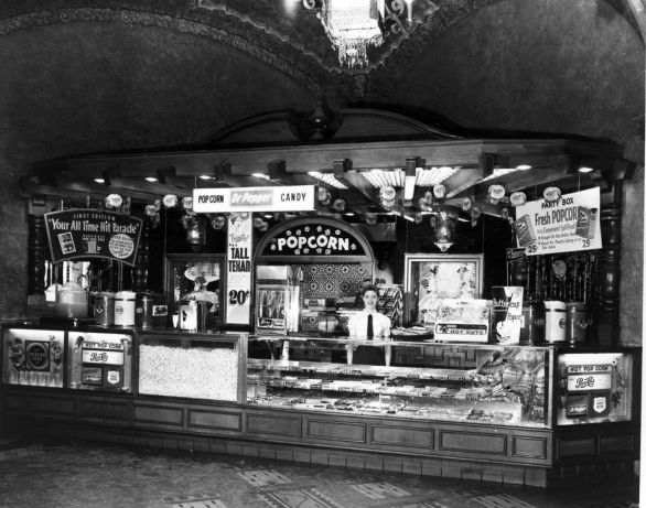 The Majestic's concession stand, circa 1940s.