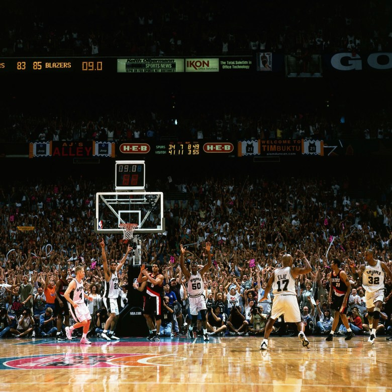 After the Memorial Day Miracle: Sean Elliott's unforgettable 3-pointer in the closing seconds, Spurs vs. Trailblazers, Game Two, 1999. Photo courtesy San Antonio Spurs.