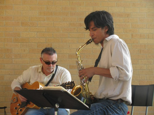 Nola's Dad, Steve Garcia, is a gifted saxophonist.  Photo by Tracy Hamilton