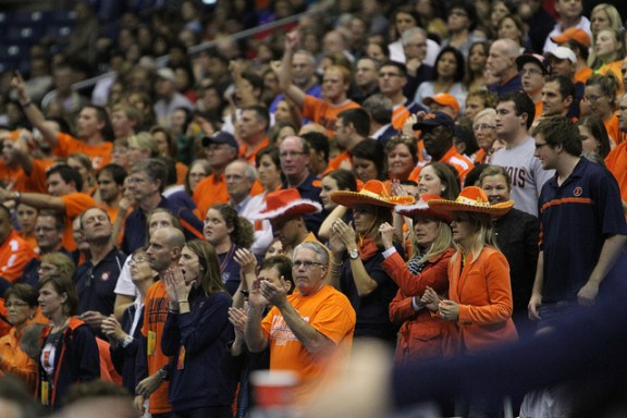 Fans cheer on the 2011 NCAA Volleyball National Semifinals at the Alamodome. Photo courtesy of San Antonio Sports.