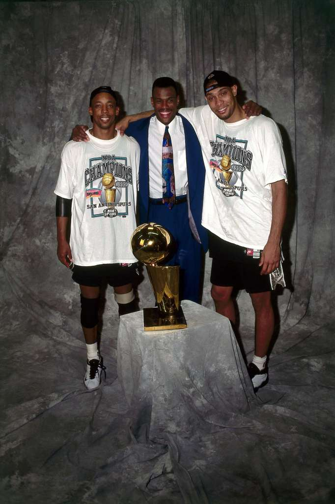 The Spurs won their first NBA Championship in 1999 led by the trio of Tim Duncan, David Robinson and Sean Elliott. NBAE/Getty Images, courtesy of San Antonio Spurs.