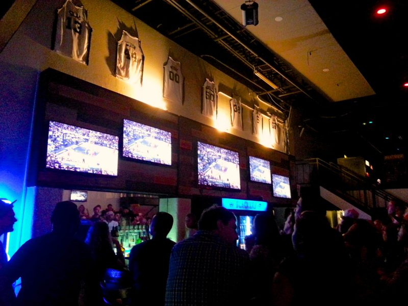 A crowd of devoted fans gathered to watch Game Three of the NBA Finals last night at Slackers Bar near North Star Mall. Spurs beat the Heat, 113 to 77.