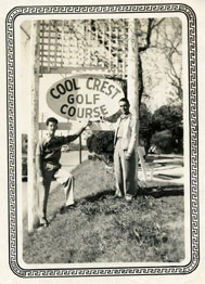 Cool Crest owner Harold Metzger, right, and a friend stand near the front sign in 1947. Courtesy of the Metzger Estate.