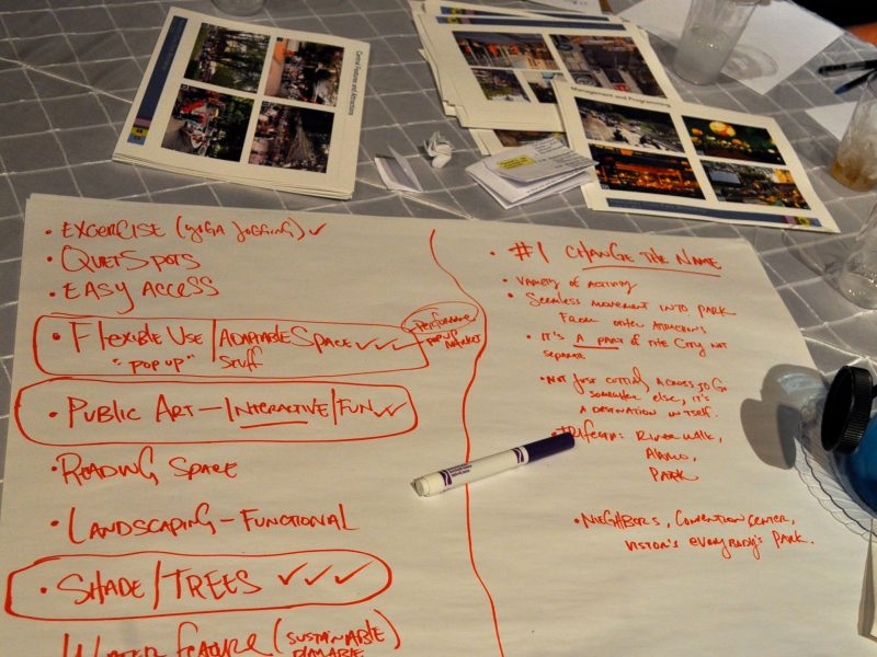 Our table's list of themes and amenities we'd most enjoy. We definitely agreed that Civic Park is going to need a better name. Photo by Iris Dimmick (forgive my handwriting).