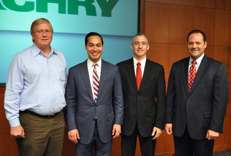 Rackspace Chairmand and CEO Graham Weston, Mayor Julián Castro, Business Forward VP Greg Schultz, and Zachry Public Policy and governemnt Relations Executive Director A.J. Rodriguez. Photo by Iris Dimmick.