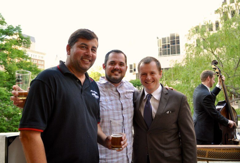 Eugene Simor; founder and president of Alamo Beer, Zac Harris; Geekdom member and entrepreneur, and Brent Watkins; South Texas Jazz artistic director. Photo by Iris Dimmick.