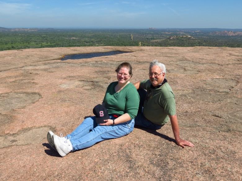 Don Mathis and Susan Salzman on top of the world at Enchanted Rock.