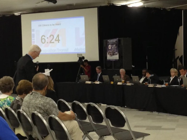 Stan Mitchell addresses the VIA board of directors.