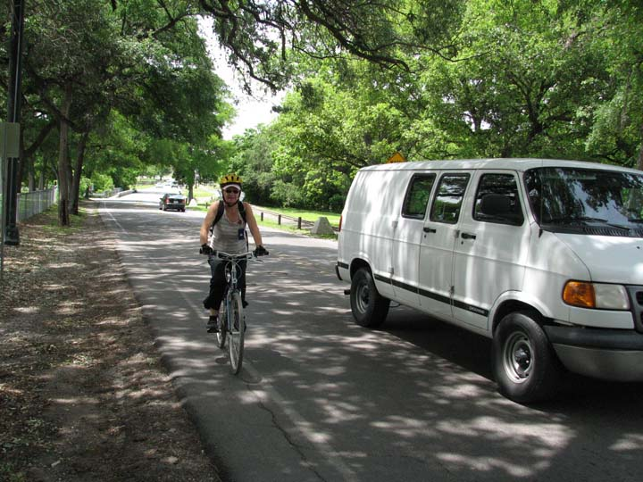 This Mulberry Avenue bike lane is too narrow to offer cyclists a safe space from passing vehicles. Photo courtesy of COSA/Office of Sustainability