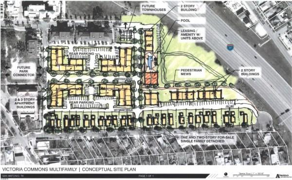 """Lavaca residents take issue with this rendering from the neighborhood master plan draft, especially those residing in Artisan Park (left of """"future townhouses"""" label). Residents were expecting the lot to be populated with for-sale single family homes. Rendering courtesy of Alamo Architects."""