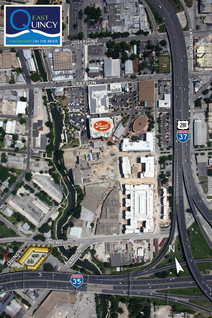 The yellow blocks in the bottom left are the planned location of Quincy East townhouses. Image courtesy of Steve Yndo.