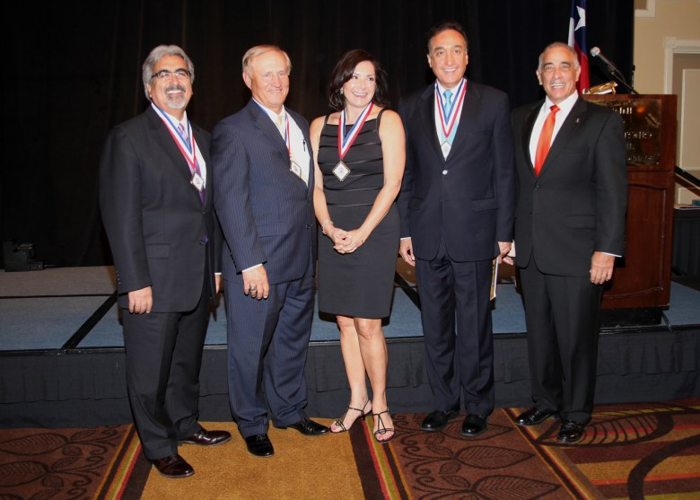 Judge Sam Medina, Clarence Kahlig, JoAnn Boone, Henry Cisneros and Sylvester Perez, the National Hispanic Heritage Hall of Honor Class of 2013. Photo by Polo Ortíz.
