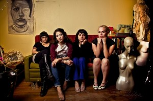 (From left) Mari Hernandez, Kristin Gamez, Sarah Castillo, and Ruth Buentello of Más Rudas art collective.