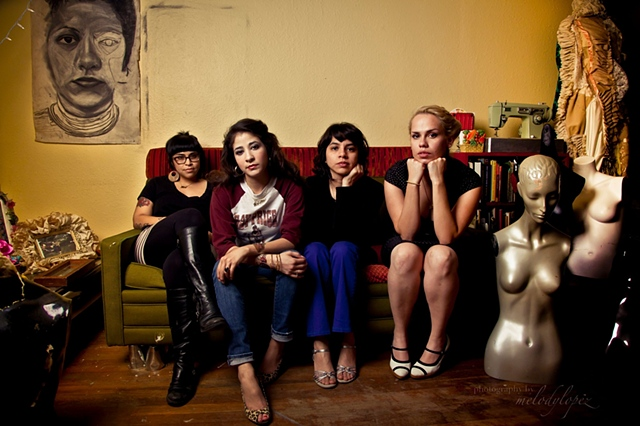 (From left) Mari Hernandez, Kristin Gamez, Sarah Castillo, and Ruth Buentello of Más Rudas art collective.