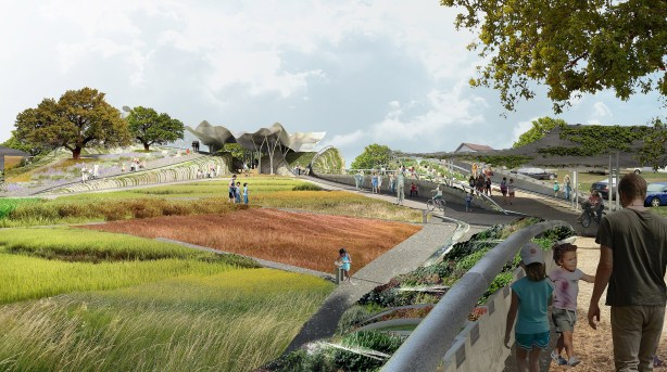 Confluence Park will be both a park and an indoor-outdoor learning laboratory. Rendering courtesy of San Antonio River Foundation.