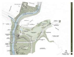 Map shows the location of Confluence Park on the Mission Reach.