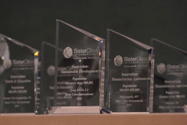 """Awards given at last year's Sister Cities International conference. The Office of Sustainability will officially recieve its award for """"Innovation: Energy/Sustainable Development award for a city with a population of more than 500,001"""" for the B-cycle bike share program. Photo courtesy of Sister Cities International."""