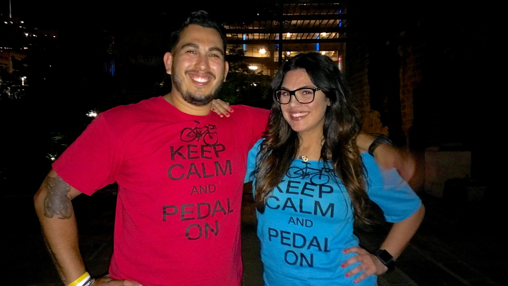 Edward Garcia, founder of SATX Pedal Power, and Ashley Quinn, Main Plaza Conservancy programs manager, teamed up to host Cycle-In Cinema every Thursday night in Main Plaza. Photo courtesy Main Plaza conservancy / Ashley Quinn.