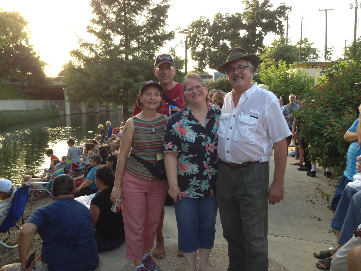 (From left) Lea Lopez-Fagin, Chris Billings, Susan Salzman, and Don Mathis were the Writers on a Walk, a Bat Walk, August 5. They used the flying mammals as their muse. Photo courtesy of Don Mathis.