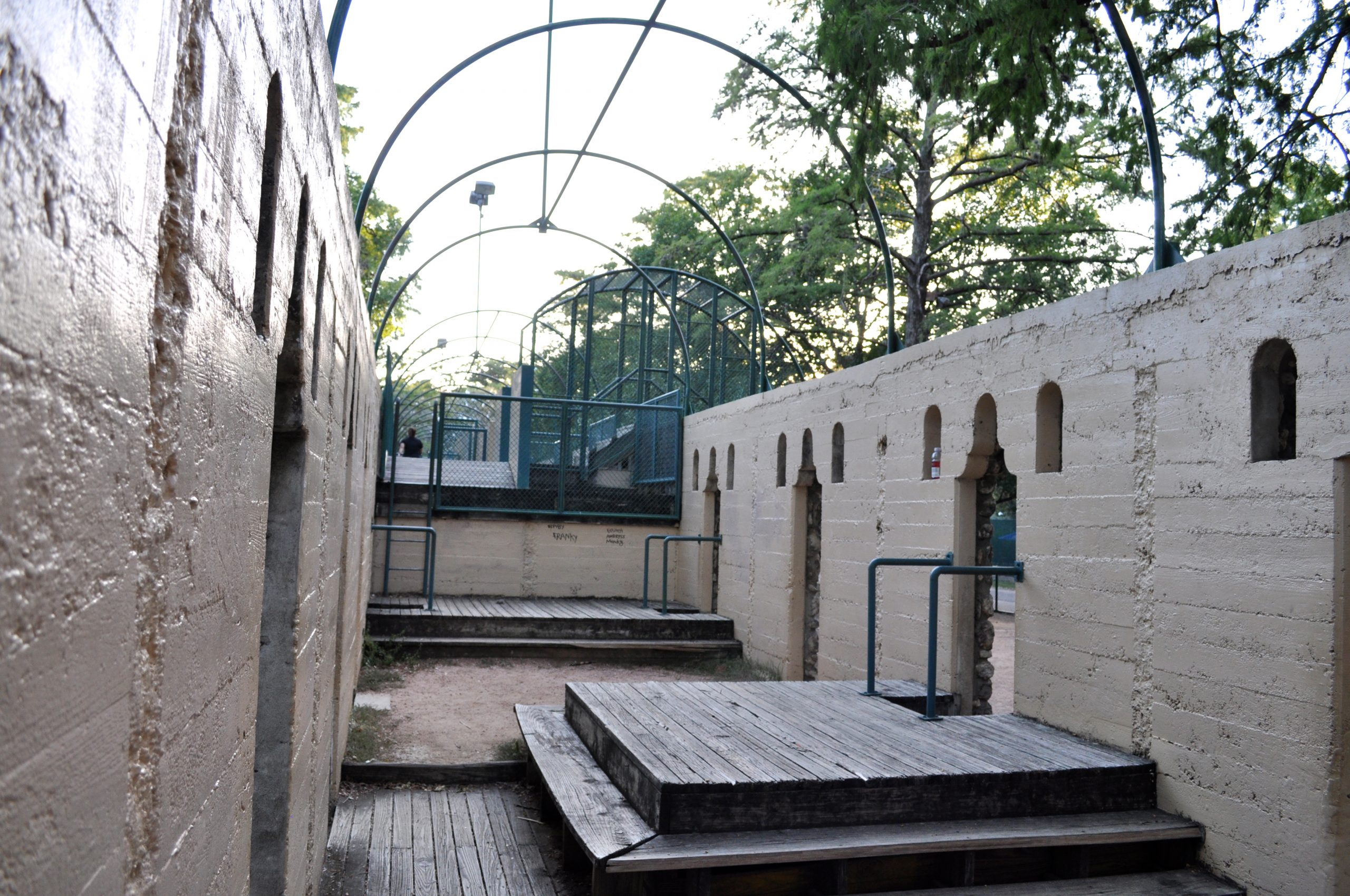 A creative playscape has been made out of the former changing rooms for the long-closed Lambert swimming pool – the first public pool in San Antonio. Photo by Iris Dimmick.