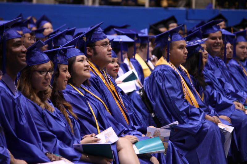 Palo Alto College students prepare for graduation at the 2013 Commencement. Photo courtesy of Palo Alto College.