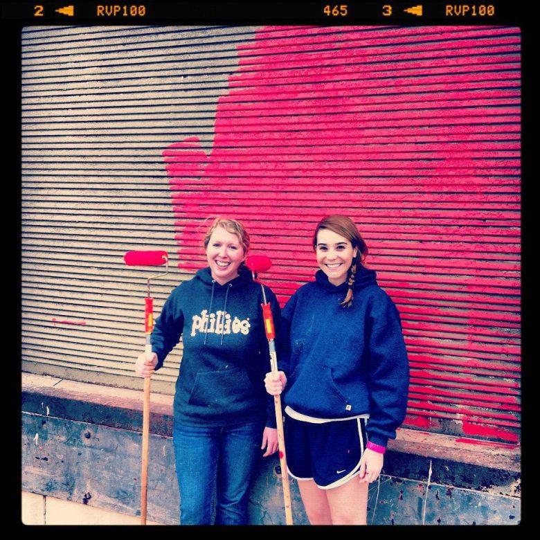 LOOP Board Members Kelly Beevers and Ellie Leeper volunteering on behalf of LOOP for San Antonio's first Better Block at Jones and Broadway in March 2012.