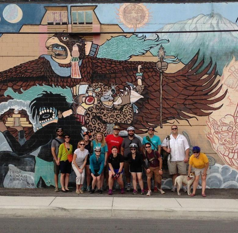 """Members of LOOP, a.k.a. """"LOOPers,"""" participating in Westside Mural Bike Tour given by San Anto Cultural Arts. Courtesy photo."""