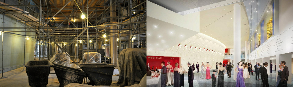 Left: Tobin Center's lobby as of last month, July 2013. Right: courtesy rendering of lobby at completion.