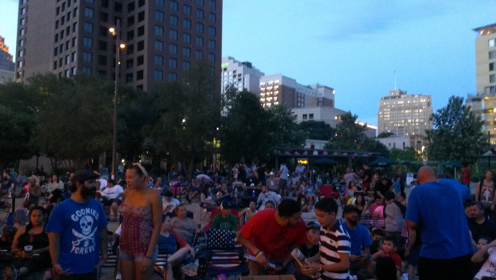 A large crowd gathers for Cycle-In Cinema on a recent Thursday night in Main Plaza. Photo courtesy of Main Plaza Conservancy / Ashley Quinn.