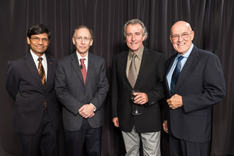 Previous Palmaz Award winners Mauli Agrawal (left-2010) and Larry Miller (right-2012) from San Antonio join 2013 recipient Robert Langer of Boston (second from left) and namesake Julio Palmaz at this year's BioMed SA Palmaz Award Dinner. Photo by Joel Spring.