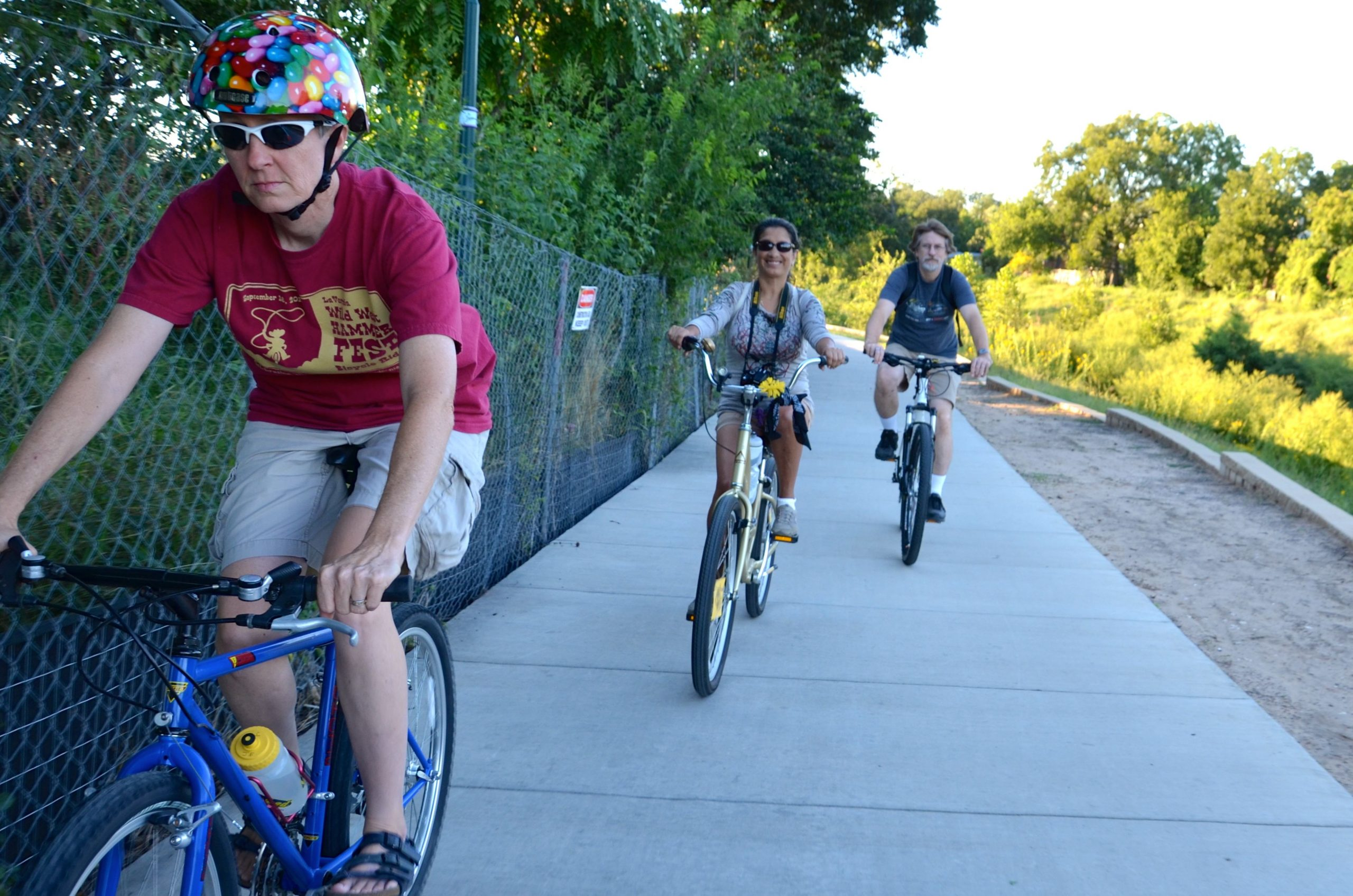 Sara Reid rides the Mission Reach with the Something Monday crew. Photo by Steve Wood.