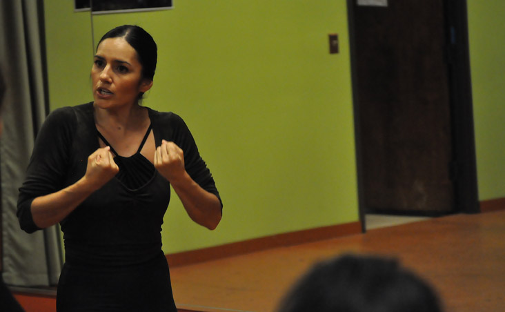 Estafania Ramirez gestures during a class at EntreFlamenco. Photo by Annette Crawford.