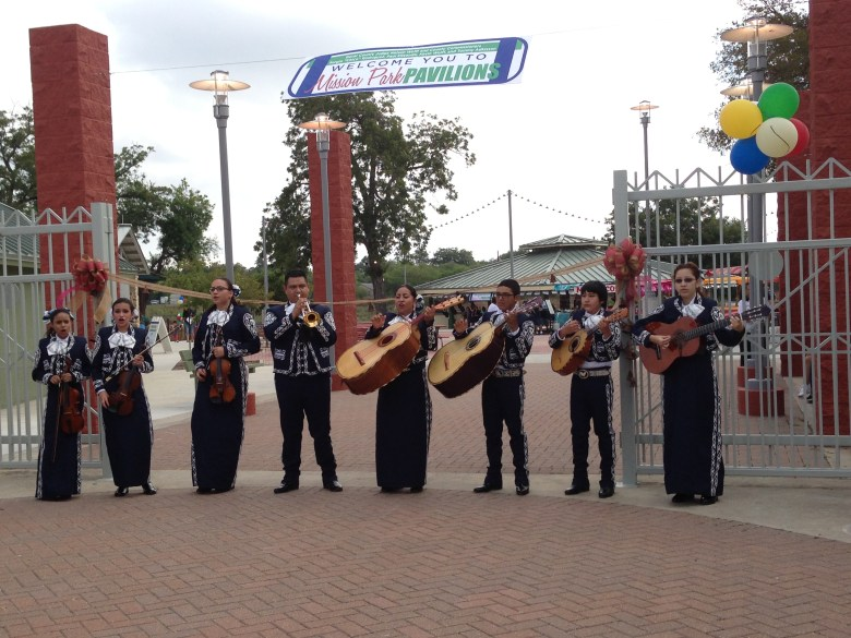 Harlandale ISD's Mariachis Aguilas de Oro perform at the ribbon cutting ceremony for Mission County Park Pavilions.