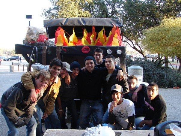 Jaime Solis' and fellow members of the Kappa Sigma fraternity at the 2007 UTSA Homecoming Golf Cart Parade. Photo courtesy of Jaime Solis.