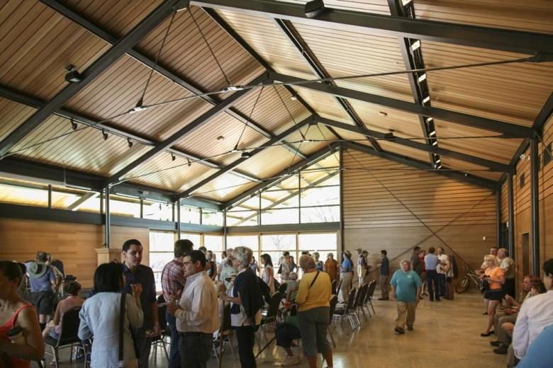 Inside the Gathering Hall at Phil Hardberger Park's Urban Ecology Center. Photo courtesy of Lewis McNeel, Lake/Flato Architects.