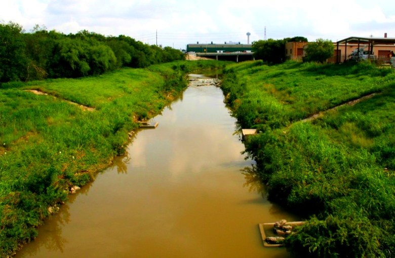 View of the San Antonio River looking north from Mitchell Street, prior to river improvements.Photo by Jeff Reininger.