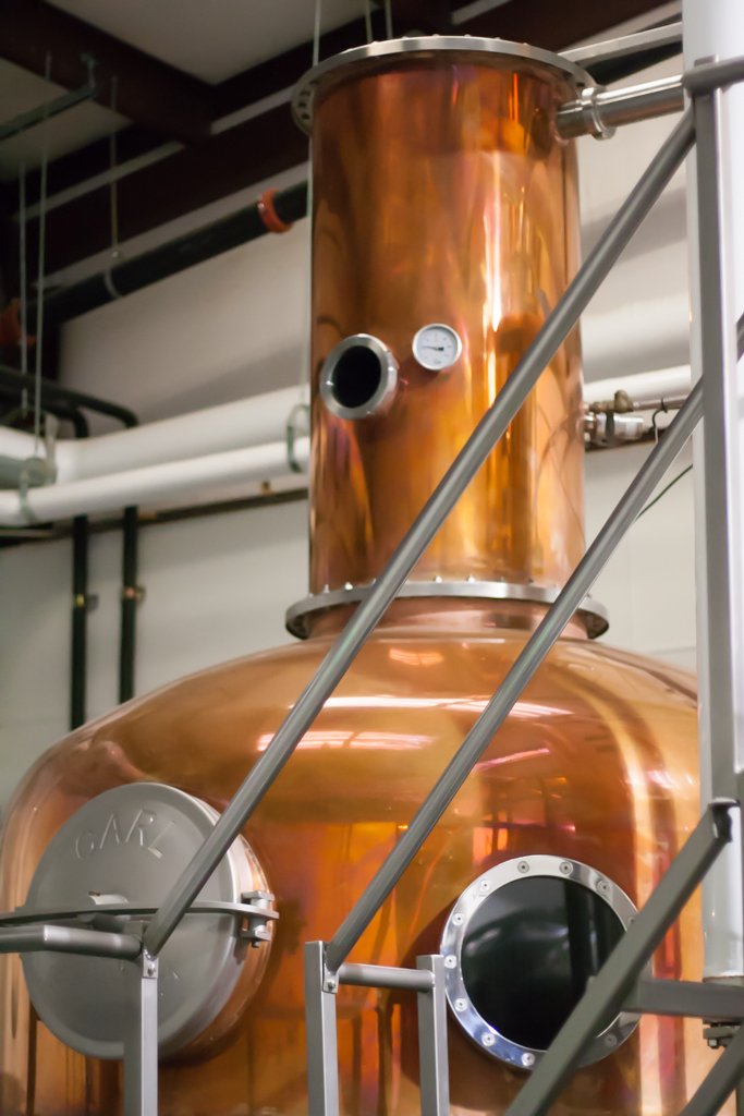 Rebecca Creek Distillery's copper still that was produced by the Carl Artisan Distilleries and Brewing Systems in Germany. Photo by Garrett Heath.