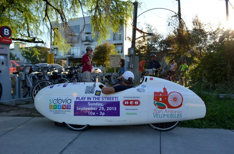 Steve Wood, of San Antonio Bike Tours, joins the Something Monday crew in his velomobile. Photography by Cooksterz.
