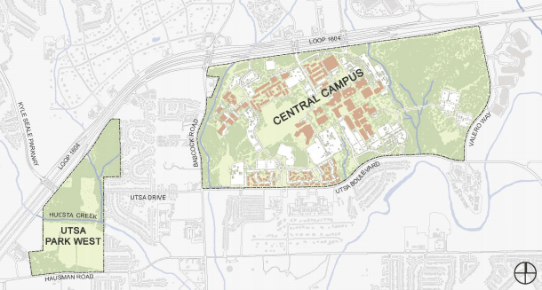 Map of UTSA main campus and Park West athletic complex.